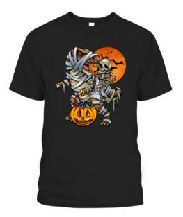 Skeleton Dinosaur Halloween Mummy Pumpkin Graphic Tee Shirt, Adult Size S-5XL