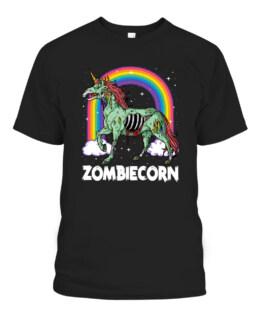 Zombiecorn Zombie Unicorn Halloween Graphic Tee Shirt, Adult Size S-5XL