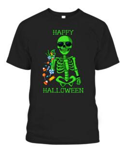 Halloween Skeleton Salting Candy Funny T-Shirts, Hoodie, Sweatshirt, Adult Size S-5XL