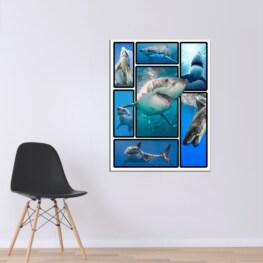 Shark 3D Canvas Cotton 1 Piece - Portrait Full Size
