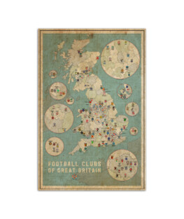 """Football clubs of Great Britain vintage maps Wall Poster Vertical 7x11"""" 16x24"""" 24x36"""""""