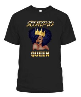 Scorpio Queen Born In October-November Black Queen Birthday T-Shirts, Hoodie, Sweatshirt, Adult Size S-5XL