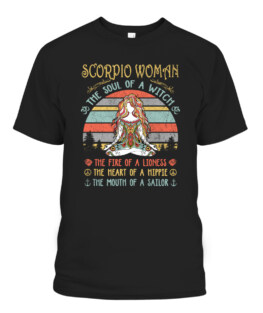 Scorpio Woman The Soul Of A Witch Vintage Birthday T-Shirts, Hoodie, Sweatshirt, Adult Size S-5XL