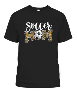 Soccer Mom Leopard Funny Soccer Mom Shirt Mothers Day Graphic Tee Shirt, Adult Size S-5XL