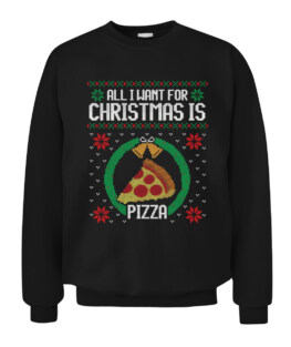 Funny Ugly Sweater Christmas Pizza gift Graphic Tee Shirt Adult Size S-5XL