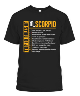 Top 10 Rules of Scorpio Birthday Gifts T-Shirts, Hoodie, Sweatshirt, Adult Size S-5XL