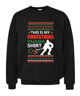 Funny Ice Hockey Christmas Pajama Ugly X Mas Sweater Graphic Tee Shirt Adult Size S-5XL