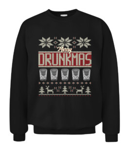 Drunk Christmas Long Sleeve T-Shirt Ugly Xmas Sweater Graphic Tee Shirt Adult Size S-5XL