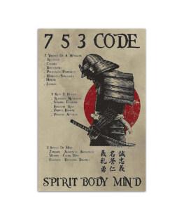 """Samurai 7 5 3 code spirit body mind Wall Poster Vertical 7x11"""" 16x24"""" 24x36"""""""