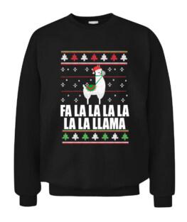 FA LA LLAMA Ugly Christmas Sweater Design Xmas Gift Meme Graphic Tee Shirt Adult Size S-5XL