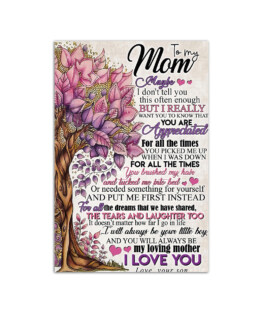 """Gift to mom from son I love mom Wall Poster Vertical 7x11"""" 16x24"""" 24x36"""""""