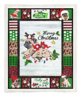 Pug Merry Christmas 60x80 Inch Adult Blanket