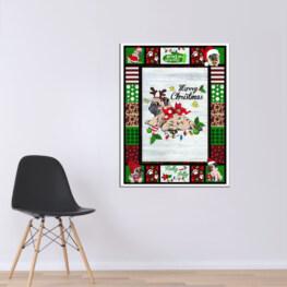 Pug Merry Christmas Canvas Cotton 1 Piece - Portrait Full Size