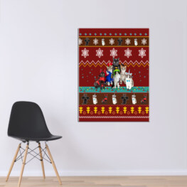 Red Cat Christmas Canvas Cotton 1 Piece - Portrait Full Size