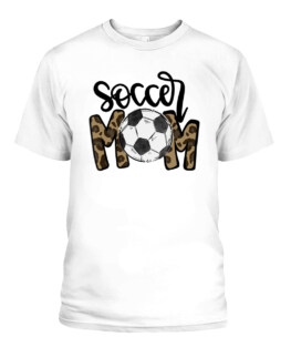 Soccer Mom Leopard Funny Soccer Mom Mothers Day Graphic Tee Shirt, Adult Size S-5XL