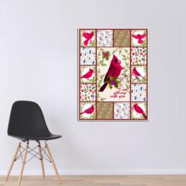 Pink Bird Canvas Cotton 1 Piece - Portrait Full Size