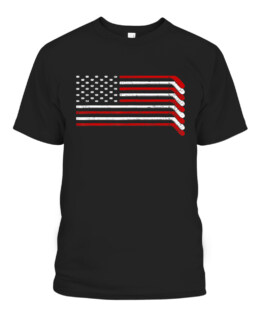 US Flag Hockey Stick Patriotic American Hockey Player Hockey Graphic Tee Shirt Adult Size S-5XL