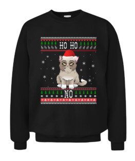 Funny Angry Cat Ugly Christmas Sweater Style Graphic Tee Shirt Adult Size S-5XL