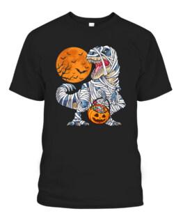 Halloween Shirts Dinosaur T rex Mummy Pumpkin Graphic Tee Shirt, Adult Size S-5XL