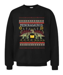 Funny Menorasaurus Dreidel Hanukkah Menorah Ugly Sweater Graphic Tee Shirt Adult Size S-5XL