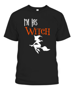 Matching Halloween Im his Witch Im her Boo Couples Costume Graphic Tee Shirt, Adult Size S-5XL