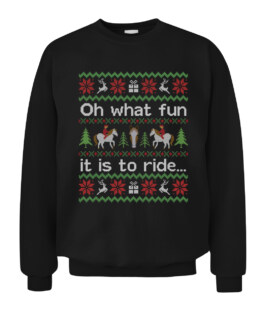 Funny Ugly Sweater Christmas Horse Ride Graphic Tee Shirt Adult Size S-5XL