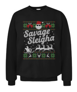 Funny Ugly Sweater Christmas Savage Sleigh Graphic Tee Shirt Adult Size S-5XL