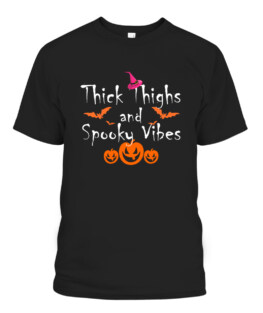 Thick Thighs Spooky Vibes Halloween Mood Funny Fall Pumpkin T-Shirts, Hoodie, Sweatshirt, Adult Size S-5XL