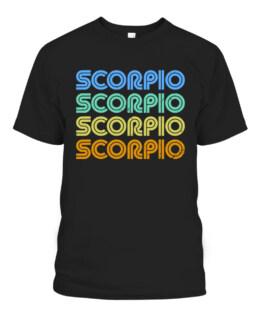 Scorpio Vintage Retro Zodiac Sign Scorpio Horoscope Design T-Shirts, Hoodie, Sweatshirt, Adult Size S-5XL