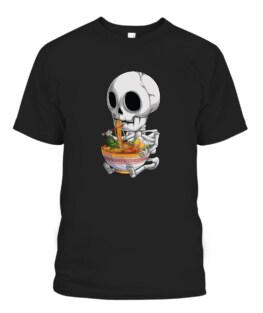 Kawaii Japanese Anime Skeleton Halloween ramen Food Lovers Graphic Tee Shirt, Adult Size S-5XL