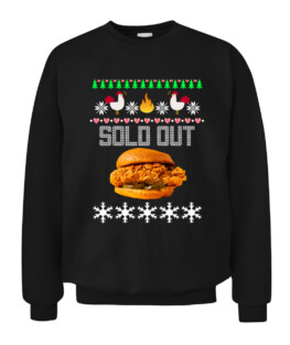 Funny Spicy Chicken Sandwich Ugly Christmas Sweater Graphic Tee Shirt Adult Size S-5XL
