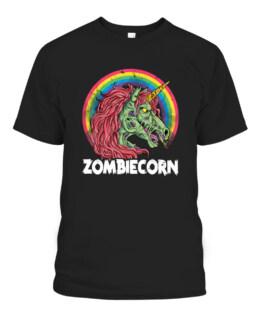 Zombiecorn Zombie Unicorn T shirt Halloween Graphic Tee Shirt, Adult Size S-5XL