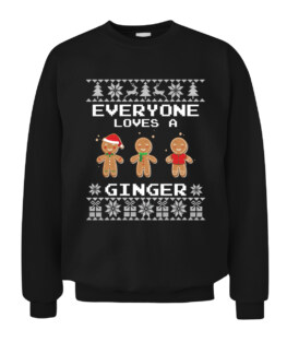 Everyone Loves a Ginger Gingerbread - Ugly Christmas Sweater Graphic Tee Shirt Adult Size S-5XL