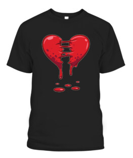 Dripping Broken Heart Halloween Valentines Funny Love Graphic Tee Shirt, Adult Size S-5XL