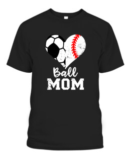 Ball Mom Heart Funny Baseball Soccer Mom Graphic Tee Shirt, Adult Size S-5XL