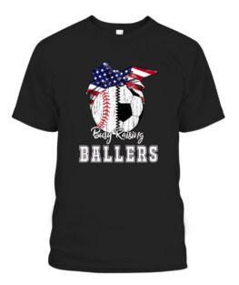 Busy Raising Ballers Baseball Soccer - Soccer mom Graphic Tee Shirt, Adult Size S-5XL
