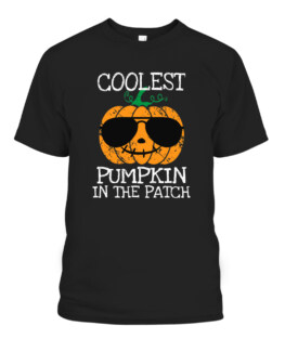 Coolest Pumpkin In The Patch Halloween Graphic Tee Shirt, Adult Size S-5XL