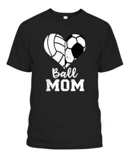 Ball Mom Heart Funny Soccer Volleyball Mom Graphic Tee Shirt, Adult Size S-5XL