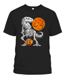 Halloween Dinosaur Skeleton T rex Scary Graphic Tee Shirt, Adult Size S-5XL
