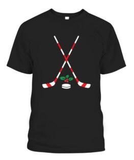 Ice Hockey Christmas Gift Candy Cane Hockey Stick Hockey Graphic Tee Shirt Adult Size S-5XL