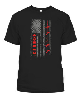 ICU Nurse Critical Care American Flag Graphic Tee Shirt Adult Size S-5XL