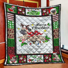Pug Merry Christmas Full Size Quilt King Queen Twin Throw