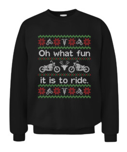 Funny Ugly Sweater Christmas Motorcycle Graphic Tee Shirt Adult Size S-5XL