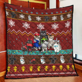 Red Cat Christmas Quilt Full Size Quilt King Queen Twin Throw