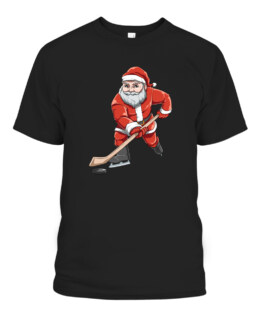 Santa Playing Hockey Christmas Gift For Hockey Players Graphic Tee Shirt Adult Size S-5XL