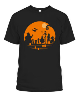 The Nightmare Before Christmas Halloween Silhouette Graphic Tee Shirt, Adult Size S-5XL