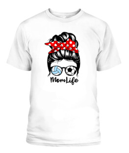 Mom Life Messy Bun Hair Funny Volleyball Soccer Mom T-Shirts, Hoodie, Sweatshirt, Adult Size S-5XL