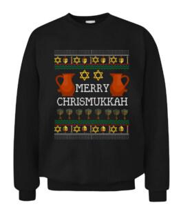 Funny Chrismukkah Dreidel Hanukkah Menorah Ugly Sweater Graphic Tee Shirt Adult Size S-5XL