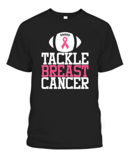 Tackle Breast Cancer Pink Ribbon Football Awareness Gift T-Shirts, Hoodie, Sweatshirt, Adult Size S-5XL