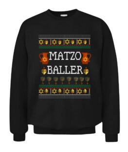 Funny Matzo Baller Dreidel Hanukkah Menorah Ugly Sweater Graphic Tee Shirt Adult Size S-5XL